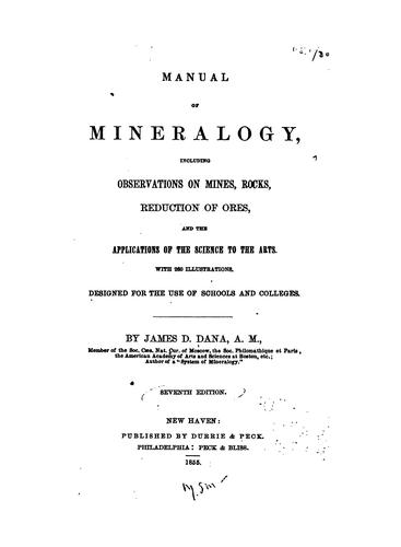 Manual of Mineralogy …
