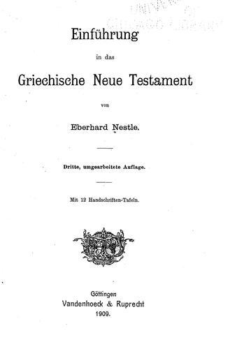 Einführung in das griechische Neue Testament