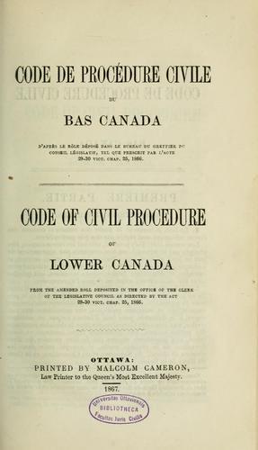 Code de procédure civile du Bas canada