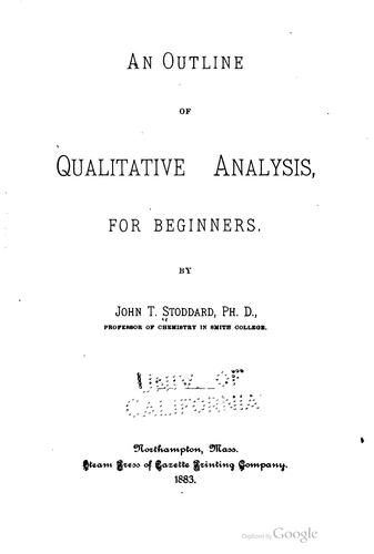 Download An outline of qualitative analysis