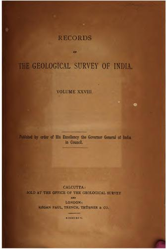 Records of the Geological Survey of India: a collection of scientific papers