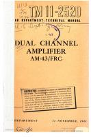 Cover of: Dual Channel Amplifier AM-43/FRC