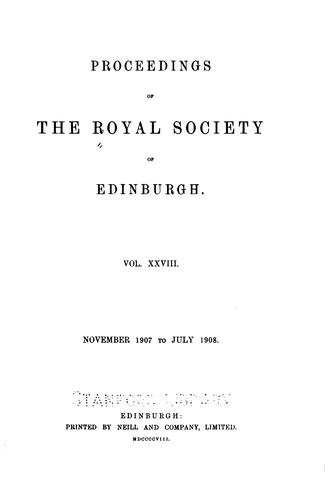 Proceedings by Royal Society of Edinburgh