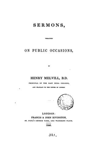 Sermons preached on public occasions by Henry Melvill