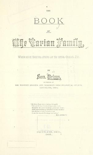 Book of the Varian family, with some speculation as to their origin by Samuel Briggs